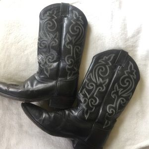 Justin Cowboy Boots Black Leather - 10/ 8.5EE